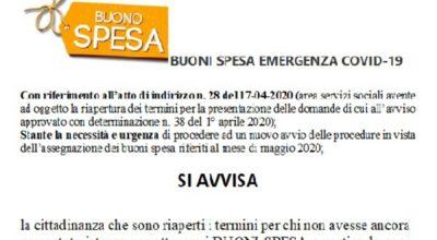 BUONI SPESA Covid19 – maggio 2020