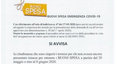 BUONI SPESA Covid19 – giugno 2020.