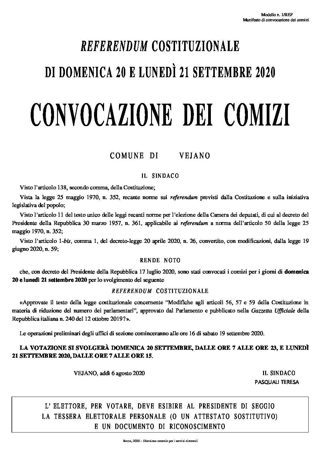 Manifesto convocazione comizi elettorali