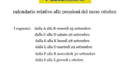 Poste Italiane – pagamento pensioni ottobre