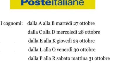 Poste Italiane: giorni di pagamento pensioni mese di novembre