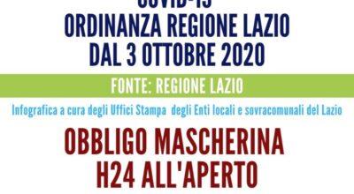 REGIONE LAZIO-FIRMATA ORDINANZA OBBLIGO MASCHERINE ALL'APERTO