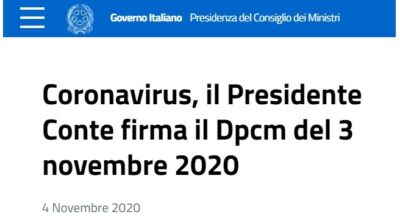 DPCM del 3 novembre 2020 con allegati
