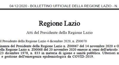 Ordinanza Regione Lazio 4 dicembre 2020, n. Z00070