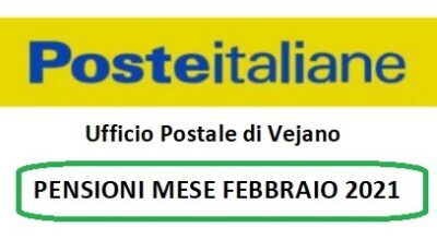 Poste Italiane: PENSIONI MESE FEBBRAIO 2021