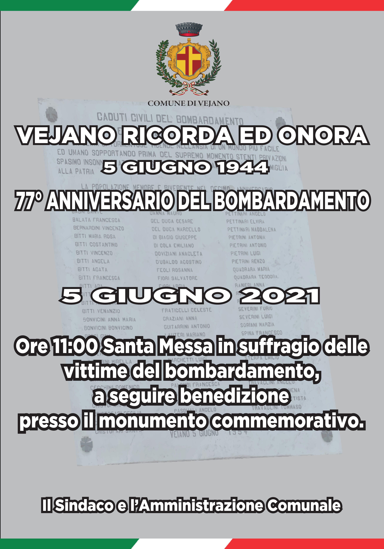 5 GIUGNO 2021  –  77° Anniversario del Bombardamento