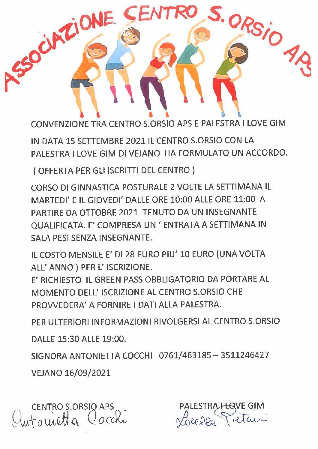 Accordo tra Centro promozione sociale S. Orsio e Palestra Love Gym